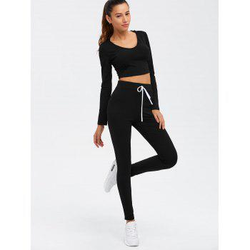 Long Sleeve Crop Top and Drawstring Pants Twinset - L L