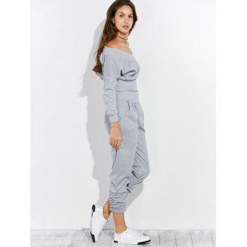 Open Back Off The Shoulder Tee and Pants Jogging Suit - GRAY M