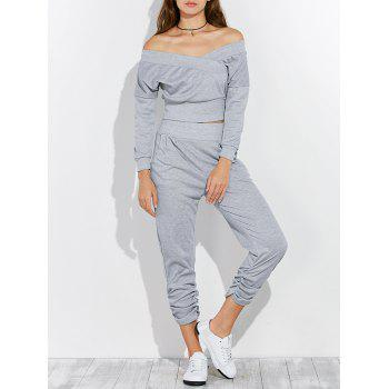 Open Back Off The Shoulder Tee and Pants Jogging Suit - GRAY S