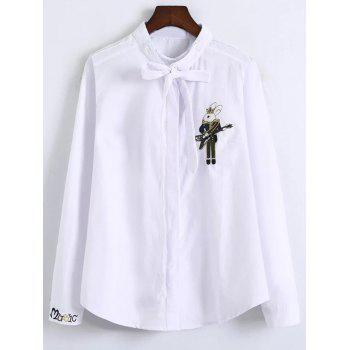 Bowknot Patched Fitting Embroidered Shirts