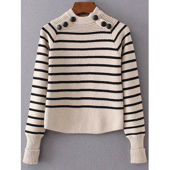 High Neck Striped Buttoned Sweater