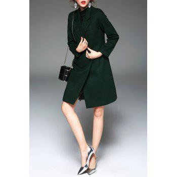 Lapel One Buttoned Coat - BLACKISH GREEN M