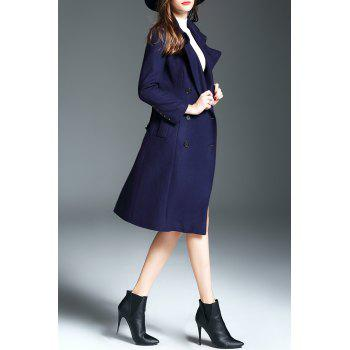 Double Breasted Walker Wool Blend Coat with Belt - PURPLISH BLUE S