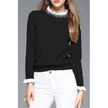 Ruffle Neck Beaded Sweater