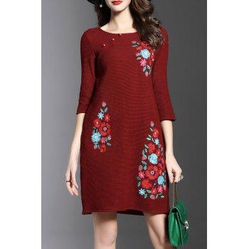 Round Neck Embroidered Knitted Dress
