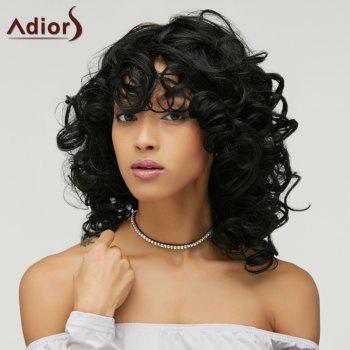 Vogue Medium Heat Resistant Fiber Shaggy Black Curly Capless Wig For Women - BLACK
