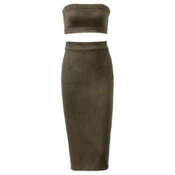 Suede Bodycon Midi Skirt with Tube Top