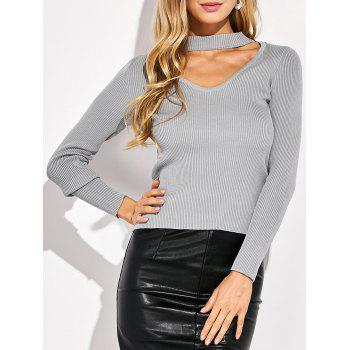 Slimming Choker Ribbed Knitwear