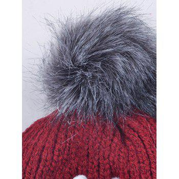Pom Ball Crown Circle Hoop Embellished Hat - WINE RED