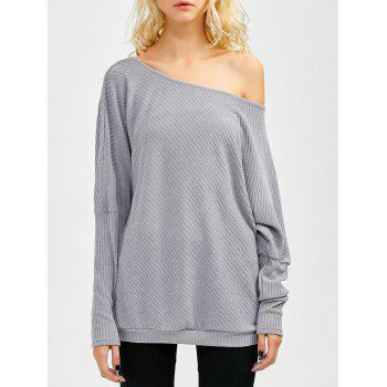 Bare Shoulder Batwing Sweater - GRAY S