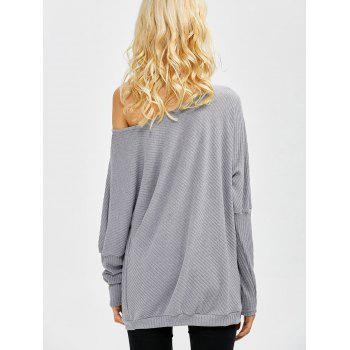 Bare Shoulder Batwing Sweater - GRAY GRAY