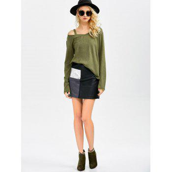 Cut Out V Neck Sweater - ARMY GREEN M