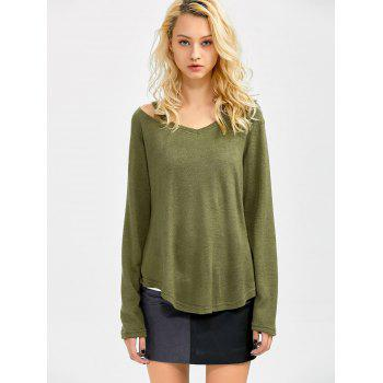 Cut Out V Neck Sweater - M M