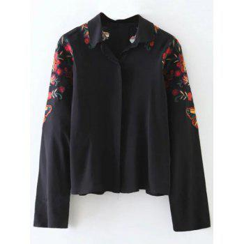 Flower Embroidered Cropped Shirt
