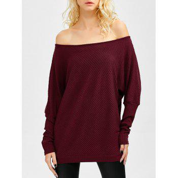 Bare Shoulder Batwing Sweater - WINE RED M