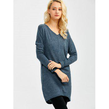 V Neck Longline Sweater - BLUE GRAY BLUE GRAY