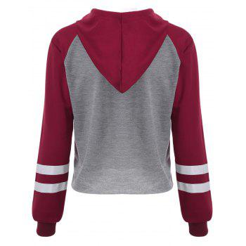 Letter Graphic Cropped Hoodie - GRAY/RED S