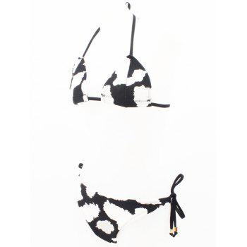 Halter Color Block Tied Up Bikini Set - WHITE/BLACK L
