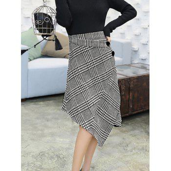 High Waisted Houndstooth Asymmetric Skirt - GRAY S