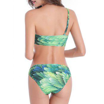 One Shoulder Leaf Print Padded Bikini Set - GREEN 5XL