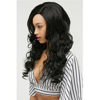 Gracefully Women's Long Side Parting Black Loose Wave Synthetic Hair Wig - BLACK