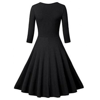 Flounce Fit and Flare Vintage Dress - BLACK BLACK