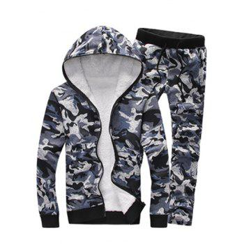 Zip Up Camouflage Flocking Hoodie and Pants Twinset - GRAY GRAY
