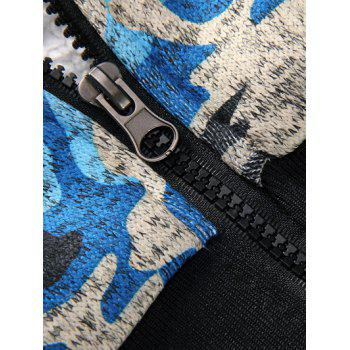 Zip Up Camouflage Flocking Hoodie and Pants Twinset - BLUE BLUE