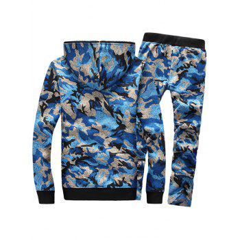Zip Up Camouflage Flocking Hoodie and Pants Twinset - BLUE XL