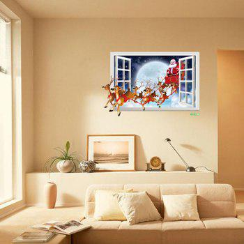 Christmas Santa Flying 3D Window Design Wall Stickers - COLORMIX