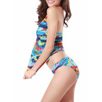 Padded Pigment Print Two Piece Swimsuit - COLORMIX L