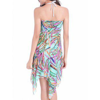 Feather Print Convertible Asymmetric Cover Up Dress - COLORMIX M