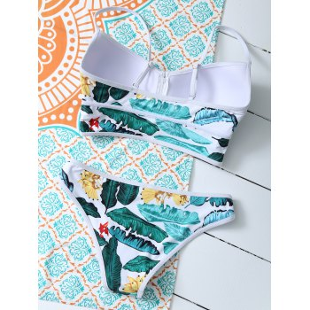 Zippered Tropical Bikini Set - FLORAL M