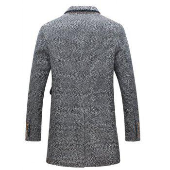 Flap Pocket Heathered Wool Blend Two Button Coat - GRAY M