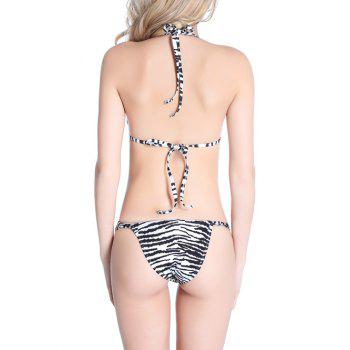 Halter Striped Padded Bikini Set - WHITE/BLACK L
