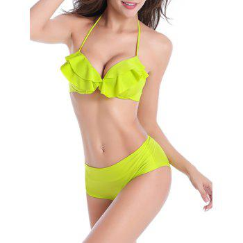 Halter Tied Up Ruffled Bikini Set - NEON GREEN M