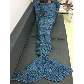 Soft Knitting Fish Scales Design Mermaid Tail Style Blanket - ROYAL