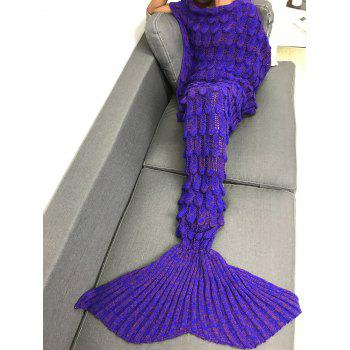 Soft Knitting Fish Scales Design Mermaid Tail Style Blanket - PURPLE