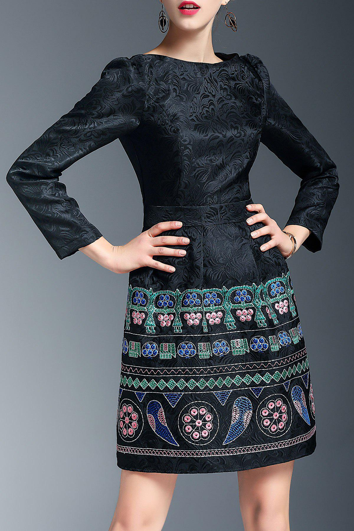 Mini Embroidered Jacquard Dress - BLACK XL