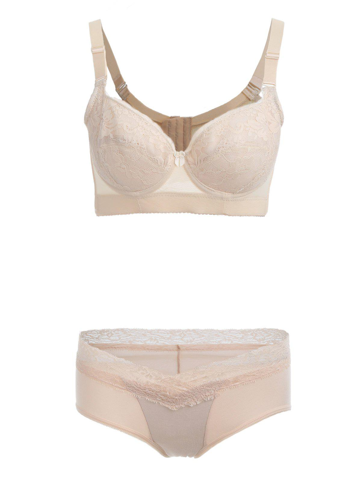 Push Up Lace Insert See Thru Bra Set - SKIN COLOR 90D