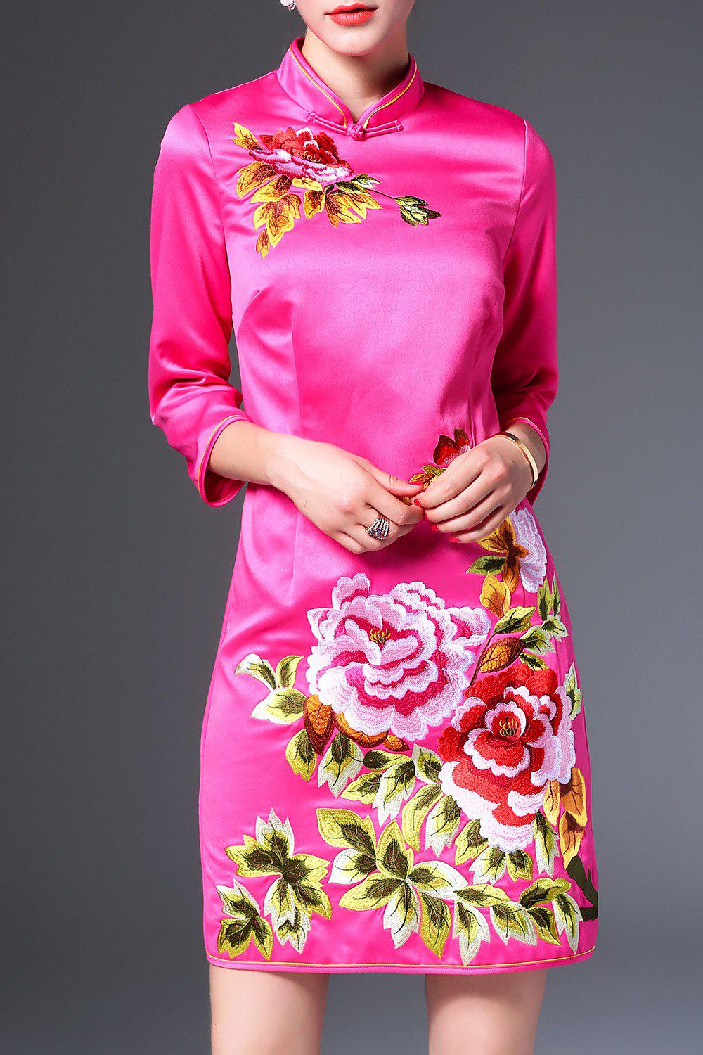 Flower Embroidered Cheongsam Mini Dress - TUTTI FRUTTI M