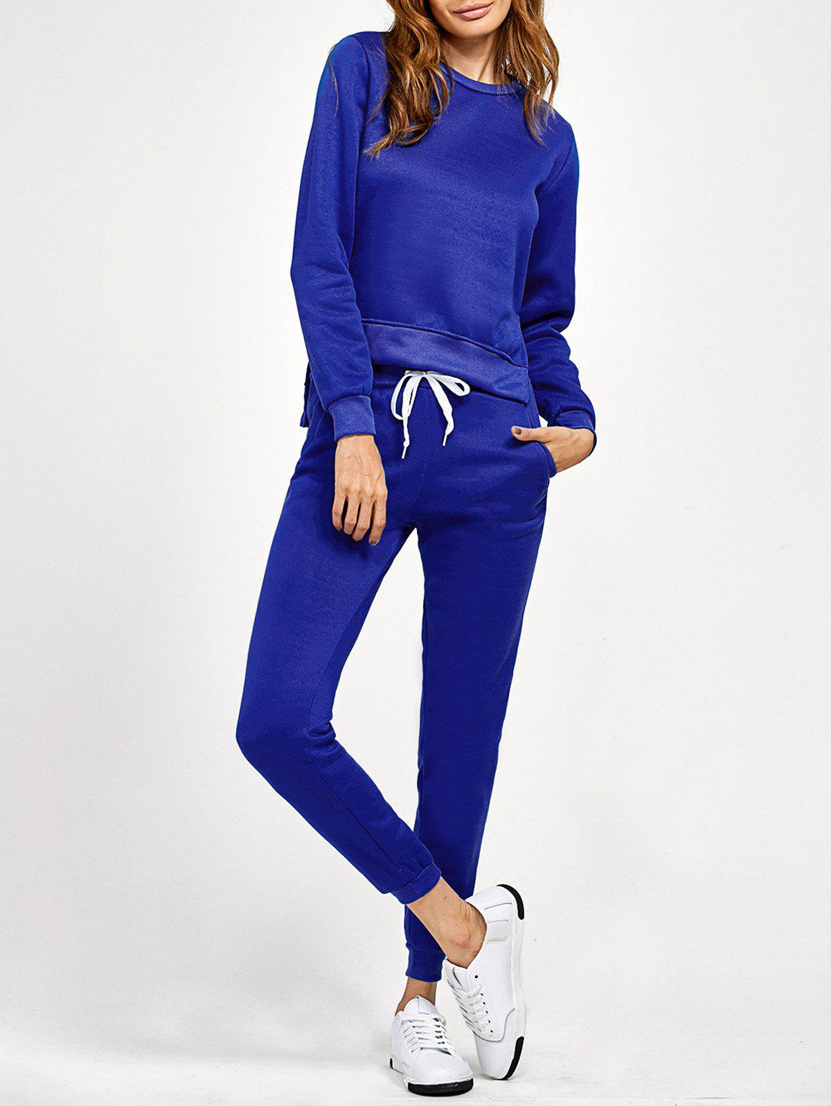 Side Slit High Low Sweatshirt and Pants - BLUE S