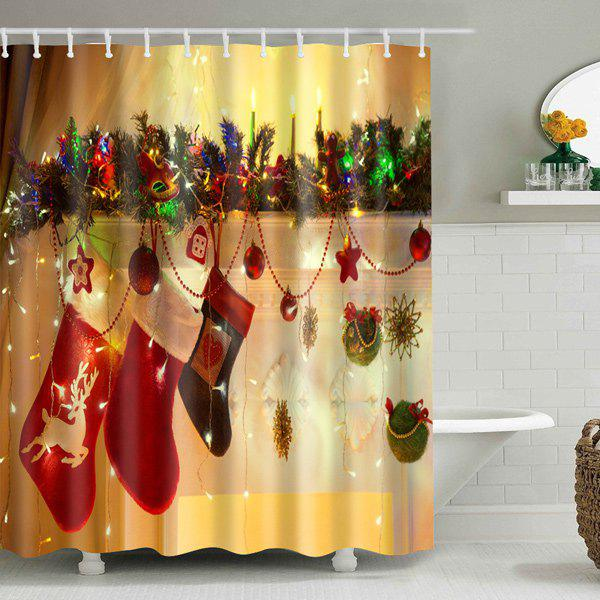Hanging Gift Sock Printed Christmas Waterproof Shower Curtain - DEEP YELLOW S