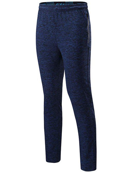 Drawstring Sports Pants with Zips - DEEP BLUE 2XL
