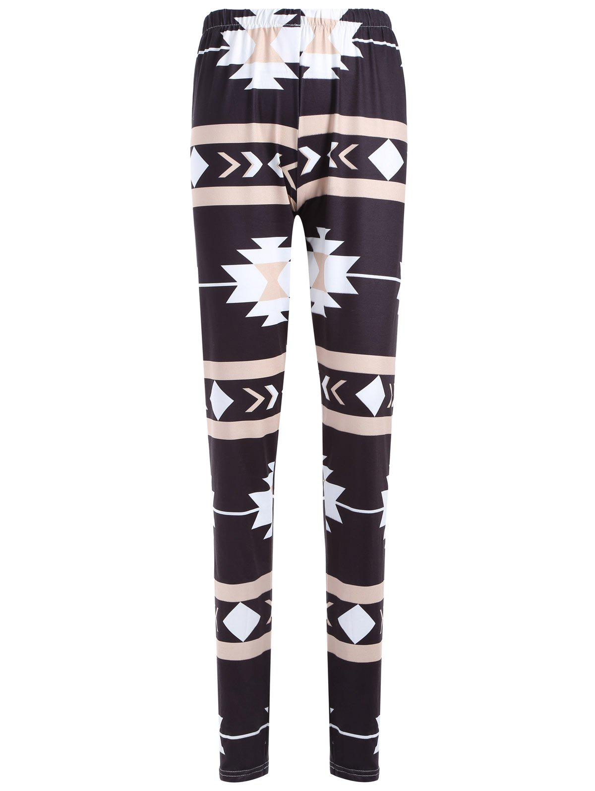 Geometric Print Skinny Christmas Leggings - BLACK S
