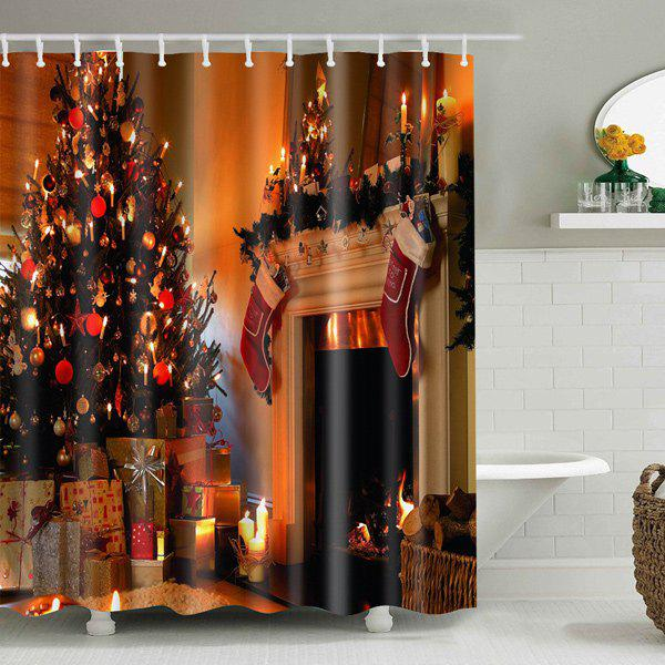 Bathroom Decor Christmas Printed Waterproof Shower Curtain merry christmas waterproof shower curtain bathroom decoration