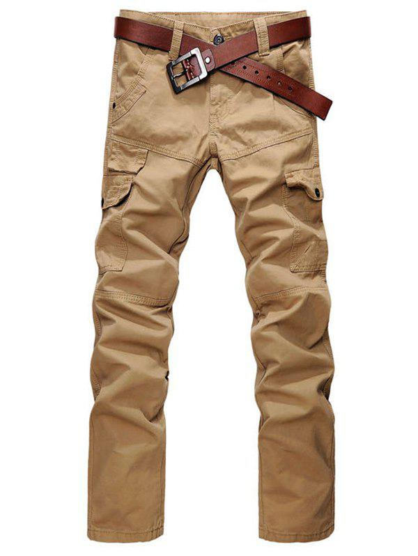 Zipper Fly Straight Leg Cargo Pants with Pockets - EARTHY 31