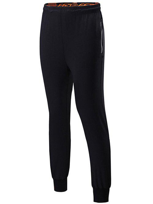 Lace-Up Sports Pants with Zips - BLACK L