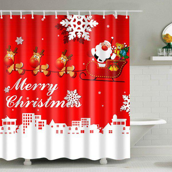 Christmas Santa Coming Waterproof Shower CurtainHome<br><br><br>Size: M<br>Color: RED