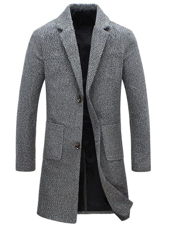 Heathered Pocket Two Button Wool Blend Coat - GRAY L